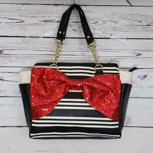 Betsey Johnson Large Sequined Red Bow Satchel EUC